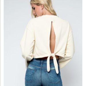 cropped open back wide sleeve sweatshirt